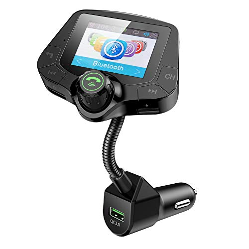 Esky Bluetooth FM Transmitter with 2 Inch Large TFT Color Screen for Car, Wireless Radio Adapter Hands-Free Kit, with QC3.0 Fast Charging, 4 Music Playing, 6 EQ Mode, AUX Input/Output