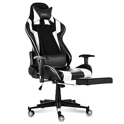 SuRose Sillón reclinable de oficina ajustable con elevación giratoria de piel sintética para oficina, computadora, juegos, con reposapiés para muebles para el hogar (color B65974)