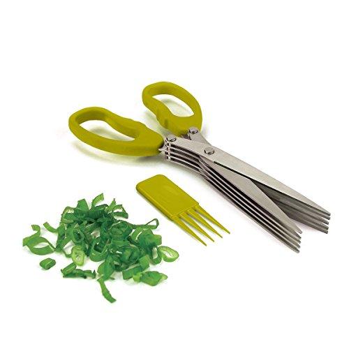 Bytan Tijeras para Hierbas Aromáticas 5 Hojas de Inox Tijeras Multicorte de Cocina + Funda con Limpiador