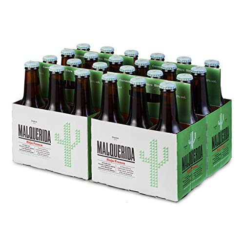 Damm Malquerida - Cerveza Roja Fresca, Caja de 24 Botellas 25cl Cerveza Afrutada, Cocina latina, Receta de Albert Y Ferran Adrià, en Botellín, Original, Muy Refrescante