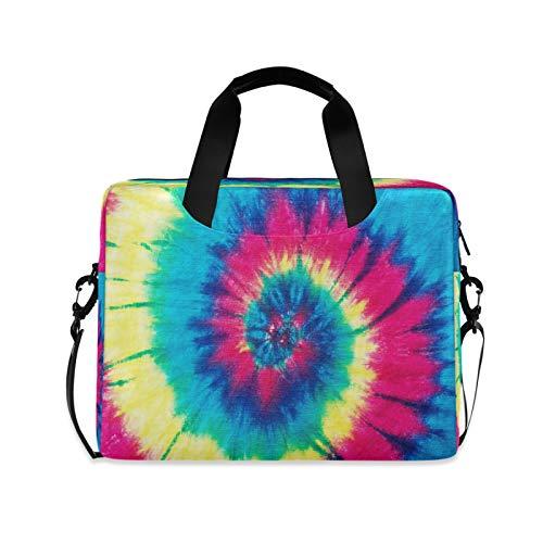 Yulife Colorful Rainbow Tie Dye Laptop Bag Sleeve Case for Women Men Briefcase Tablet Messenger Shoulder Bag with Strap Notebook Computer Case 14 15.6 16 Inch for Kids Girls Business