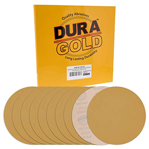 "Dura-Gold Premium 9"" Drywall Sanding Discs - 120 Grit (Box of 10) - High-Performance Sandpaper Discs with Hook & Loop Backing, Fast Cutting Aluminum Oxide Abrasive - For Drywall Power Sander, Wood"