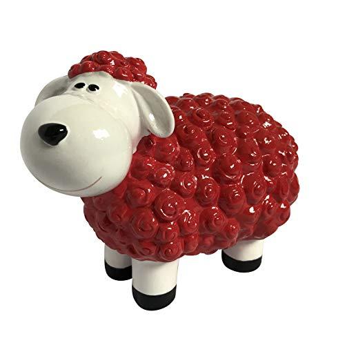 Gartenfigur lustiges Schaf - Deko für außen, Outdoor geeignet - Wetterfest (Rot)