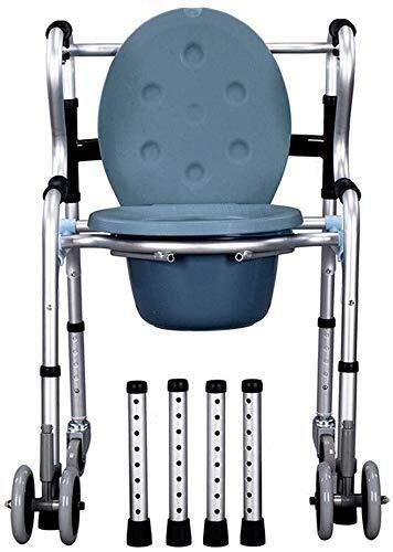 LIANGANAN Silla de ruedas de aleación de aluminio de asiento de inodoro de múltiples funciones andador mujeres embarazadas Inodoro Altura ajustable (color: sin ruedas, tamaño: sin placa de asiento)