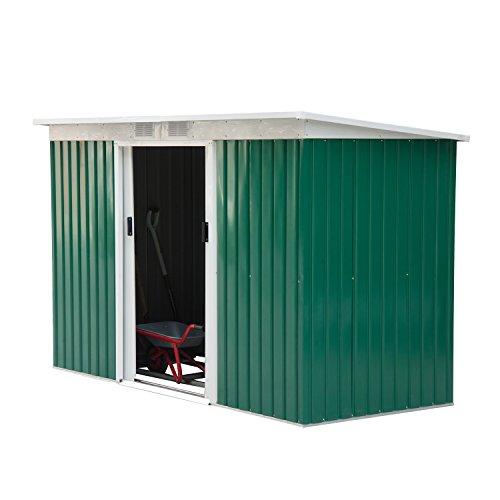 Outsunny Casetta Porta Attrezzi da Giardino Verde in Lamiera di Ferro 277x130x173cm