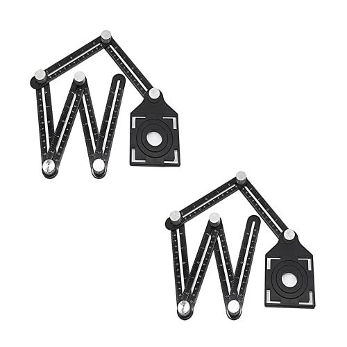 CMTTOME Regla de ángulo de baldosa, herramienta de medición de metal plegable para artesanos, guía de perforación de agujeros (2 unidades)