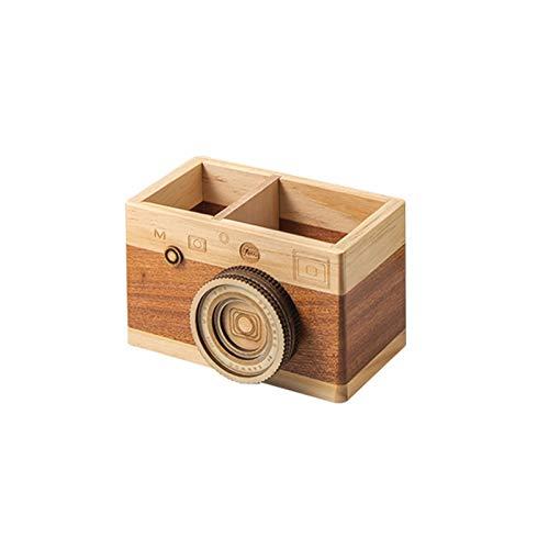 Soporte cuadrado de madera para lápices de cámara, organizador de escritorio, decoración de cámara vintage, gran regalo para fotógrafos y estudiantes 【12,3 cm】