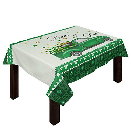 Farm Truck Carry Lucky Golden Co-ins Tablecloths for Rectangle 53 x 70-inch Table Cover, Cotton Linen Fabric Table Cloth for Dining Room Kitchen, Celtic Knots Square Check