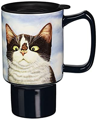 Hugo Hege Painted Cat Ceramic Travel Tumbler