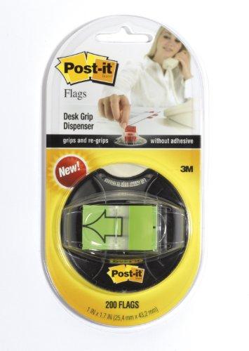 Post-it Arrow Flags Dispenser, Bright Green, 1-Inch Wide, 200/Desk Grip Dispenser, 1-Dispenser/Pack