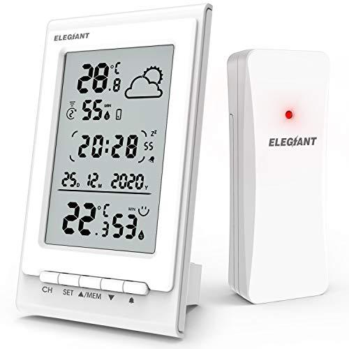 ELEGIANT Wetterstation mit Funk Außensensor, Digitaler Thermometer Hygrometer mit Innen Außen Temperatur und Feuchtigkeit, Wettervorhersage, Datum/Uhrzeit/Wecker/Schlummer, 3 Senderkanäle, weiß