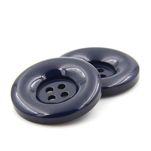Redondo Resina Botones de costura 4agujeros para ropa DIY manualidades Scrapbooking Pack de 10, azul marino, 25 mm