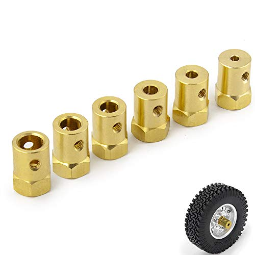 Que-T 3/4/5/6/7/8mm Motor Shaft Flexible Coupling Connector RC Tyre Wheel Brass Hex Coupler Pack of 4 (Brass, 3mm)