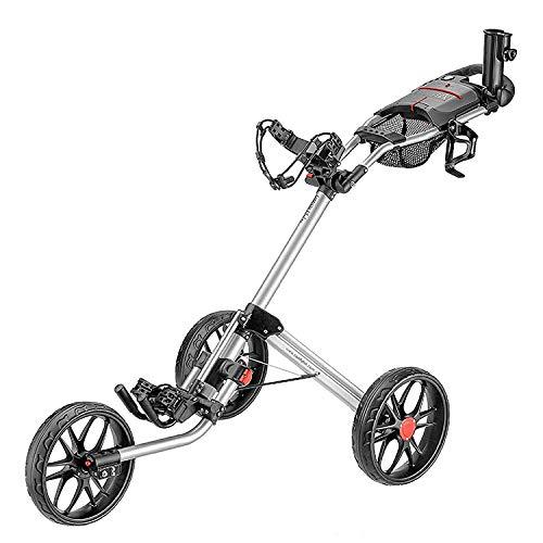 caddytek 3 Wheel Golf Push Cart - Deluxe Quad-Fold Compact Push & Pull Folding Caddy Trolley - Caddylite 15.3 V2