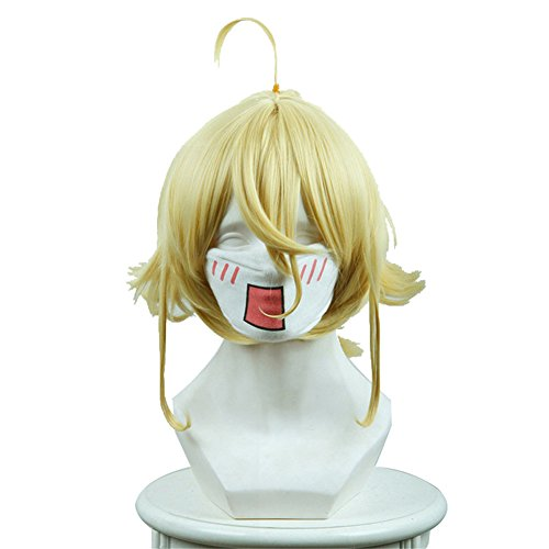 Xingwang Queen Anime Short Blonde Yellow Cosplay Wig Clip on Ponytail Cos Party Wigs for Men Boys