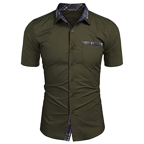 Camisa Henley Hombre Verano con Botones Básicos Manga Corta Hombre Camisa A Cuadros con Empalme Cuello Kent...