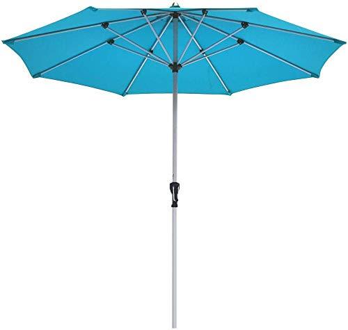 YRRA 9 FT Patio Paraguas Outdoor Market Mesa Umbrella con 1.5 ¡± Polo de Aluminio 8 Costillas y manivelas para jardín Deck Backyard & Poolside (Beige)-Turquesa