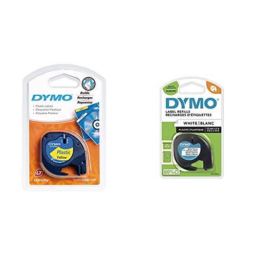 Dymo Authentisch Kunststoffetiketten LetraTag, 12 mm x 4 m, schwarz auf weiß & Authentisch Kunststoffetiketten LetraTag, 12 mm x 4 m, schwarz auf gelb, für Dymo LetraTag Etikettendrucker