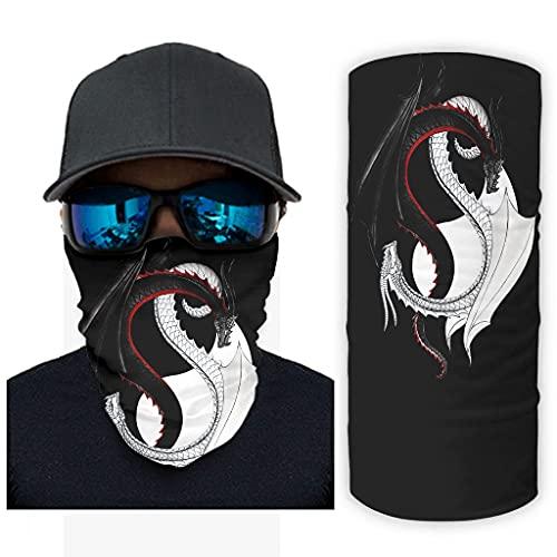 CCMugshop Yinyang - Pañuelo para la cara con diseño de dragón, color blanco y negro, talla única