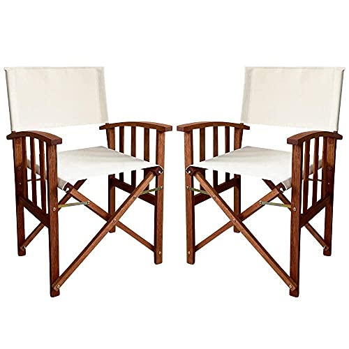 PiuShopping Juego de sillas de director plegables de madera para exterior, para jardín, color crudo, sillones plegables con reposabrazos, 55 x 51 x 84 cm