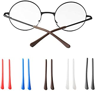 DNHCLL 5Pairs Soft Silicone Eyeglasses End Tip Ear Sock Pieces Tubes Replacement Anti-Slip Comfort Sun Glasses Retainers, Eyeglasses Leg Antiskid Cover for Thin Metal Eyeglass Legs