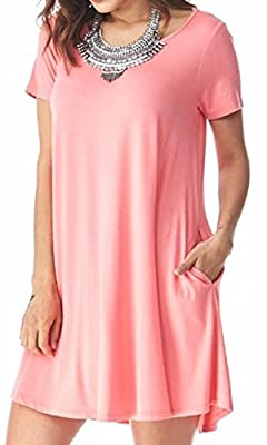 Marilyn & Main Women's Lightweight Bamboo Scoop Neck Short Sleeve Tunic Dress (Small, Coral)