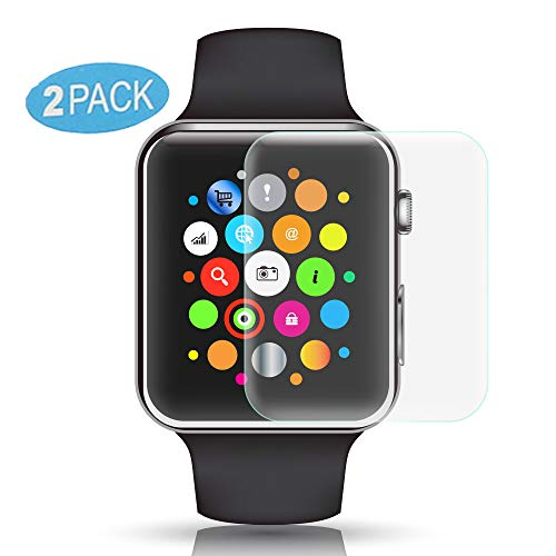 VAPIAO 2 Stück [2er Pack] Panzerfolie Schutzfolie kompatibel mit Apple Watch 1-2-3-4-5/40 und 42 mm iWatch für gewölbte Bildschirms [Full Cover] 3D Folie Keine Panzer-Glas-Folie Curved in Transparent