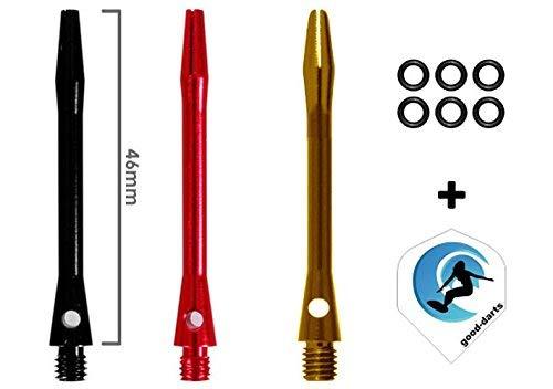 9 Aluminium Dart Shafts (Black, Red, Gold) + Dart Gummiringe + 1 Satz good-darts Flights