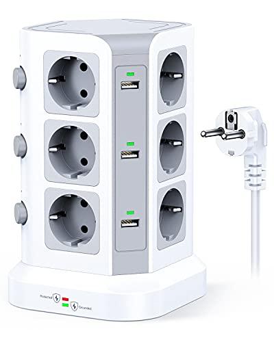KOOSLA Multipresa protezione sovratensione(4000W/16A), Ciabatta multipresa verticale con 12 prese e 6 slot USB-A, Torretta multipresa con 3 interruttori indipendenti, 2M Cavo, Bianco