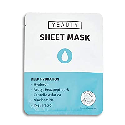 Yeauty Deep Hydration Face Sheet Mask - Instant Effect Cloth Mask with Hyaluronic for a Healthy and Smooth Face - 1 x Cloth Mask, 30 g 20543 from YEAUTY GMBH