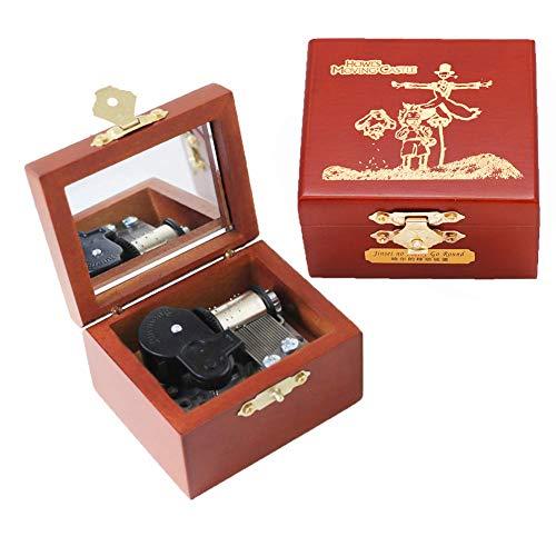 Youtang - Caja de música para espantapájaros, diseño de castillo, madera tallada, regalo para Navidad, cumpleaños, día de San Valentín