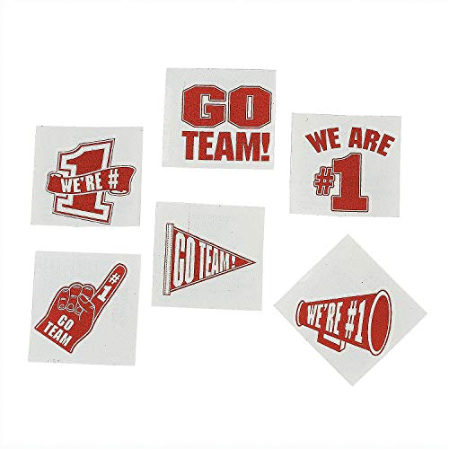 Red Go Team - We are Number 1 Temporary Tattoos (Set of 72) School Spirit Supplies