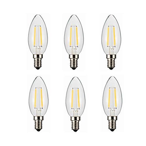 Money dock Nuovo 3V 100ma 200ma 280ma 380ma E14 LED Lampadina a forma di candela Lampadina, lampadina base europea E14, bianco caldo 2800K 180LM 20W equivalente, vetro trasparente C35 DC 3V confezione