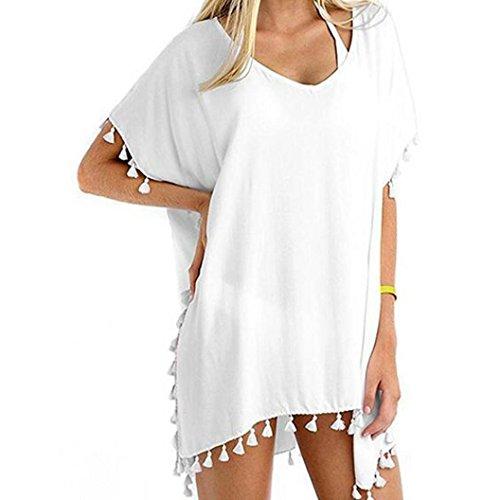 MCYs Damen Sommer Strandkleid mit Quaste Kurzarm V-Ausschnitt Lose Badeanzug Bikini Cover Up Sonnenschutz-Shirt T-Shirt One Size (Weiß)