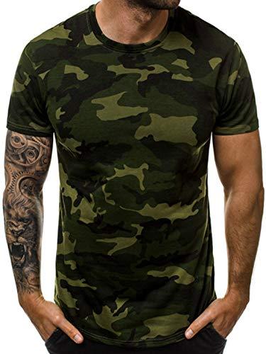 Men's Camouflage Short Sleeve T Shirts Tees Crewneck Camo Gym Tops Military Shirts