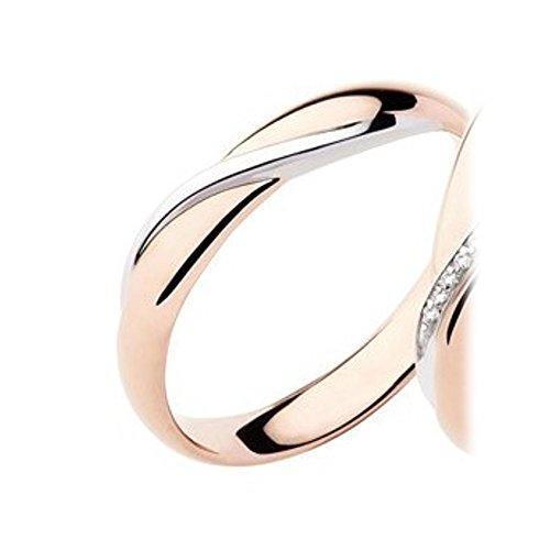 Alianza de matrimonio Polello de oro rosa y blanco, de 5 g, 3,8 mm