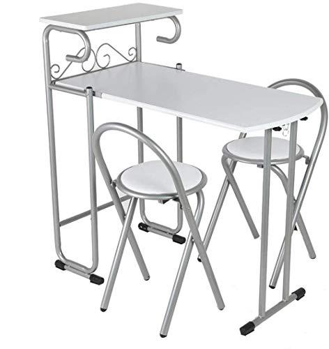 Set aus Stahltisch und 2 Klappstühlen, Stahltisch mit Ablage, rutschfeste Unterseite, für Esszimmer