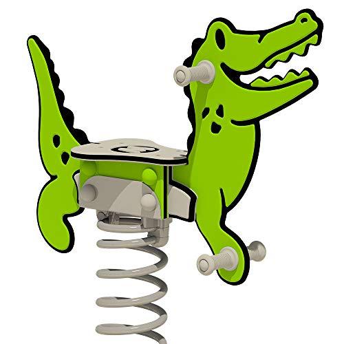 WICKEY Federwippe PRO Krokodil Crockey grün für öffentliche Spielplätze und Schulen - inklusive Bodenplatte