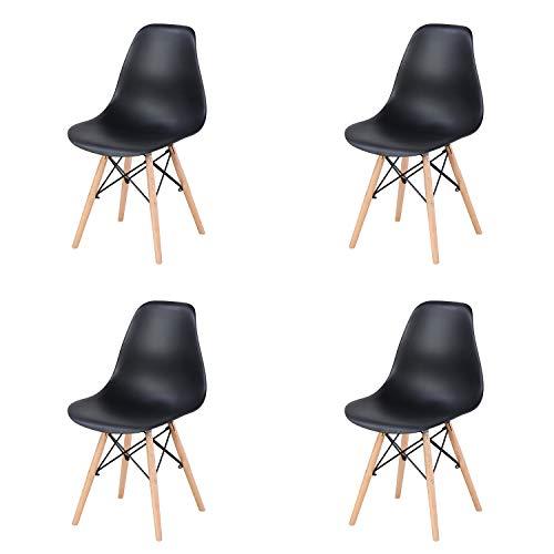 Silla de comedor simple casa respaldo silla de escritorio hierro forjado madera maciza pintura galvanoplastia silla multiusos (4 piezas juegos) (Negro-)
