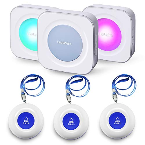 LIOTOIN Wireless Caregiver Pager Call Button Nurse Alert System Call Bell for Home Elderly Patients Disabled School 3 Transmitters 3 Plugin Receivers (600+ft Operating Range)