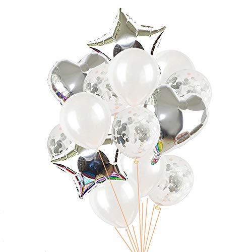 Aluminiumfolie met letters van ballonnen, kerstdecoratie, vrolijk jaar voor het huisfeestje, roségoud 5 zilver.