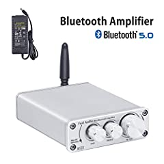 【Bluetooth 5.0】Bluetooth 5.0 streaming range up to 39ft(12m), with bass and treble control, simple compact design but practical and powerful. 【Drivable】Connect to your MP3/Phone/Pad/PC as Bluetooth input, 19V 4.74A power supply and 50W x2@4Ohm suppor...