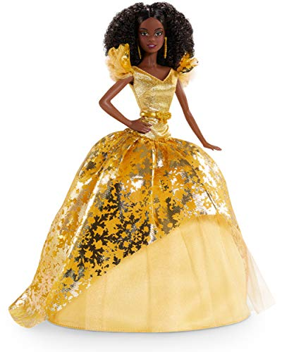 Barbie Signature 2020 Holiday Barbie Doll (12-inch Brunette Curly Hair) in Golden Gown, with Doll Stand and Certificate of Authenticity, Gift for 6 Year Olds and Up