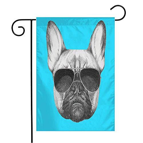 "WSMLA Garden Flag Yard Decorations Hand Drawn Glasses Tattoo French Bulldog Summer Sunglasse Animals Wildlife Baby Beauty Fun Fashion Outdoor Small Polyester Flag Double Sided 12"" x 18"""