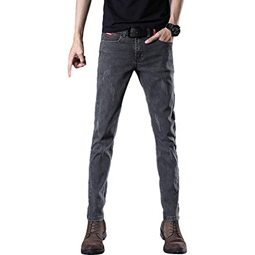 Jeans para Hombre Slim Straight Spring Stretch Plus Size Casual Color sólido Pantalones de Moda 34