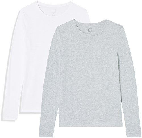 Marca Amazon - MERAKI Camisetas, Mujer, Gris (Light Grey Marl/White), XS, Pack de 2