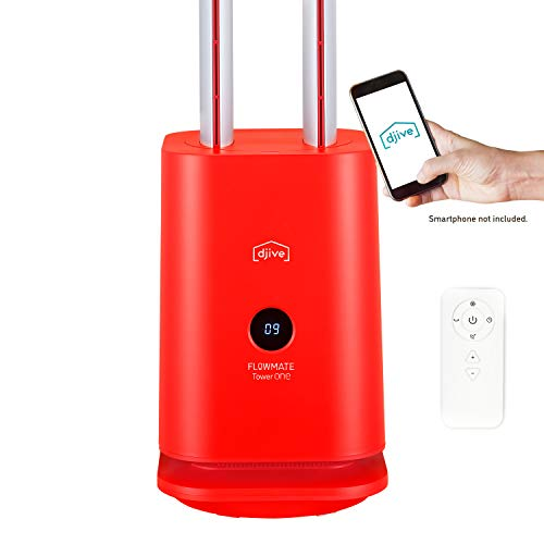 djive Flowmate Tower One Tower Fan, Quiet Fan with App & Alexa Control, Air Purifier with HEPA 12 Filter, Approx. 105 cm High, with Remote Control, Oscillation 80°, Display, 35 W, Cherry Red