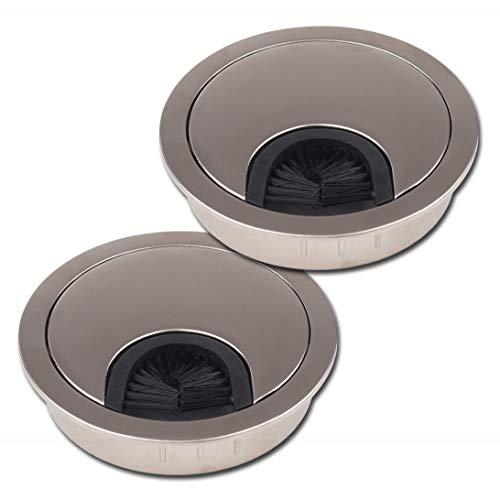 LouMaxx Kabeldurchführung 60 mm Ø – 2er-Set Metall matt Nickel Kabeldurchführung Schreibtisch mit Bürstendichtung - Für mehr Ordnung und Übersicht am Arbeitsplatz