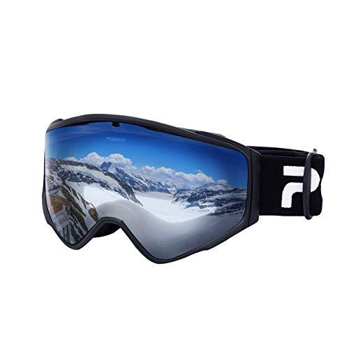 Possbay Skibrille Snowboard Brille OTG UV-Schutz mit Rahmen Schneebrille für Damen & Herren beschlagfreie für Brillenträger und Helmkompatible