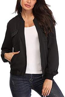 Anienaya Women's Lightweight Jackets Zip Up Coat Rib Collar Multi-Pockets Windbreaker Bomber Jacket Outwear